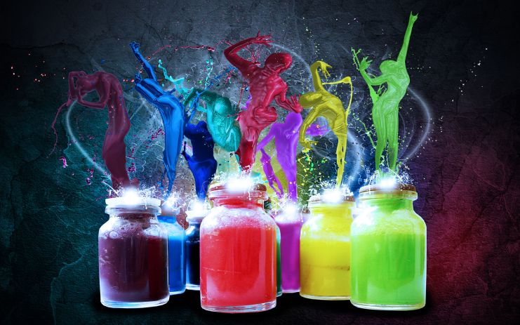 different colored jars of ink with ink splashjing over the top and the slashes for the images of people in different poses