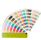 a pantone swatch book fanned out