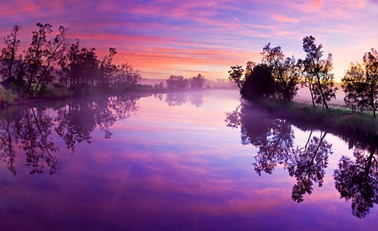 a treelined river with a purple sunset